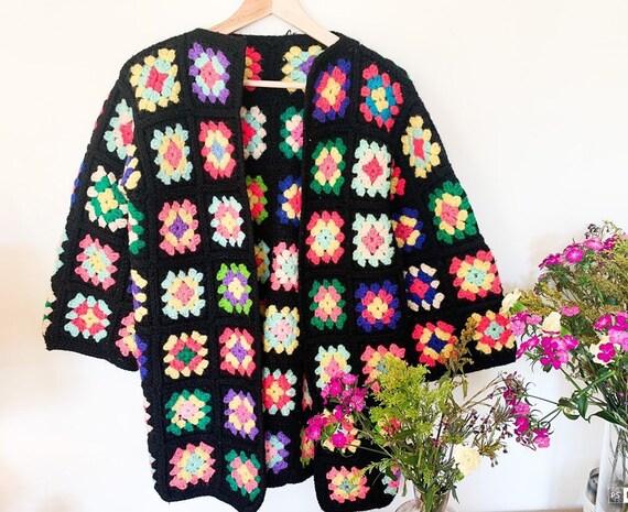 70's Square Crochet Cardigan - Afghan Coat -  Patc
