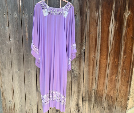 70's Vintage Lilac kaftan dress -  maxi dress and