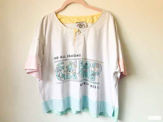 80's vintage  Pastel tee-Beverly Hills Camp- Graph
