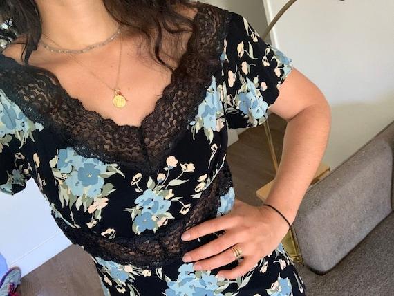 90s Betsey Johnson Floral Lace dress-Black Lace dr