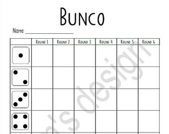 graphic about Bunco Tally Sheets Printable identify Bunco ranking card Etsy