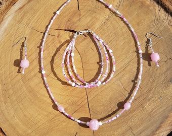 Pink Glass Jewellery Set