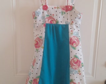 Girls summer dress in roses and turquoise