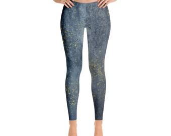 Blue Grunge Gold Speck Leggings