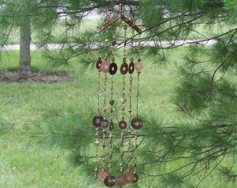 Steampunk Wind Chime, Beaded Wind Chimes, Copper Wind Chime, Steampunk  Decoration, Steampunk Wall Art, Large Wind Chime, Outdoor Wall Art