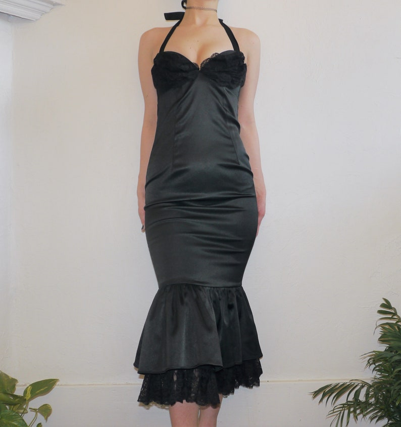 and Layered Tulle Bottom Rare Dixiefried Pinup Couture Black Satin Mermaid Curve Enhancing Wiggle Dress with Halter Tie Top Lace Cups