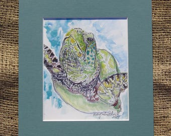 Sea Turtle Matted Watercolor Print