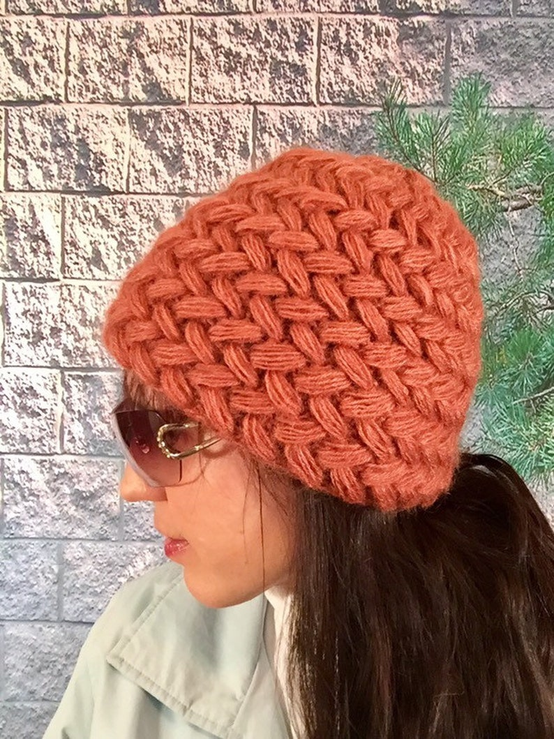 2f7f31dd57a Wool hat Women Crochet Puff Stitch Hat Hat for Women