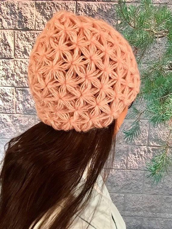 Crochet Jasmine Stitch Hat Puff Stitch Hat Wool Pink Hat for  f1024211c24