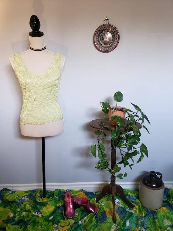 Crochet pastel green tank top