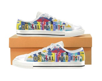 Canvas High Top Sneaker Casual Skate Shoe Boys Girls Dentist Hygienist Dental Care