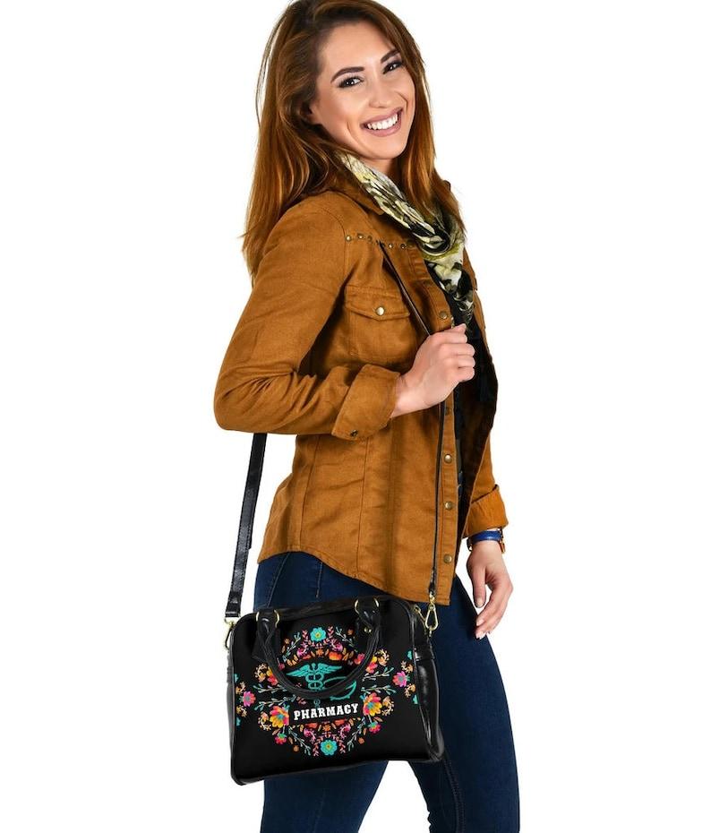 Pharmacy Handbag Pharmacy Shoulder Handbag Flourish Pestle and Mortar-P216-P07 Gift For Pharmacists And Anyone In Pharmacy Department