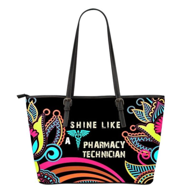 Pharmacy Tech Leather Tote Bag PP622 Pharmacy Tech Graduation Gift or Thank You Gift Pharmacy Technician Gift
