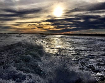 Silver Crashing Waves at Sunset - Wells Beach, Maine - Photography
