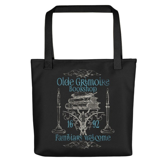 Grimoire Bookshop Tote Bag / Witchcraft Wicca Shopping And Grocery Totes /  Wiccan Pagan Shoulder Bags / Witch Gifts / Book Bags