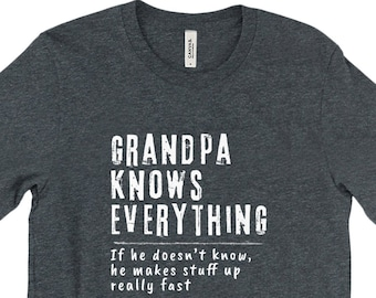 ef3872a3 Peak Grandpa Knows Everything Premium Unisex T Shirt Personalized For All  Names. Great Grandpa Or Dad Gift. Free Shipping