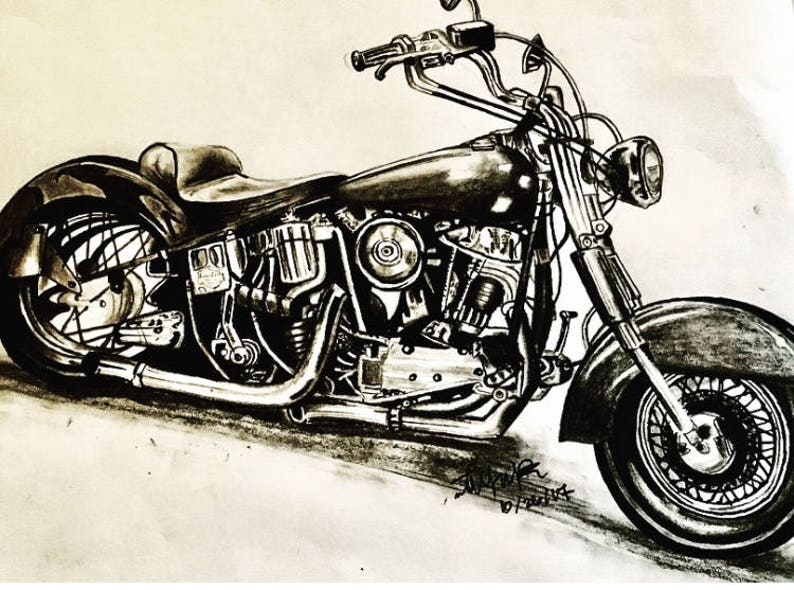 Motorcycle Drawing Etsy