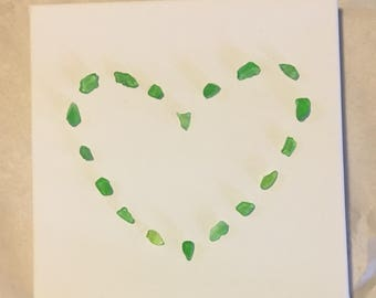 Lake Erie Beach Glass Heart on Canvas