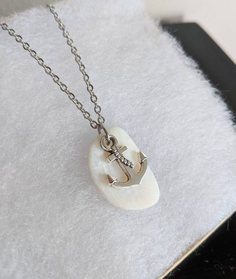 Lake Ontario Freshwater Mussel Shell and Anchor Charm Necklace