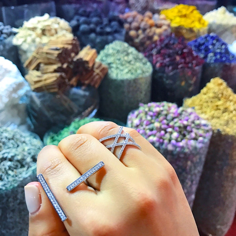 18 Karat Rose Gold or Silver Plated double X ring with high quality CZ stones Great Mother/'s Day Gift Idea for Women