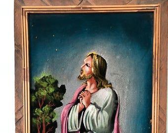 Vintage Velvet Jesus Praying in the Garden Painting