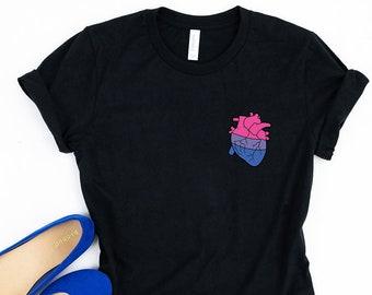 c14b31bbd Bi Pride Shirt / Tank / Bi Pride Heart Shirt / Bi Flag Shirt / Bi Shirt /  BiSexual Pride Gift / Bi Pride Gift / Men + Womens Unisex Pride