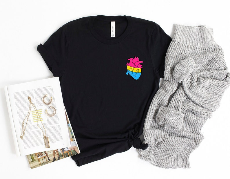 LGBTQ Pride Gift Pride T Shirt Love is Love T-Shirt Pansexual Heart Shirt Pansexual Flag Tshirt Gender Blind TShirt Pan Pride Shirt