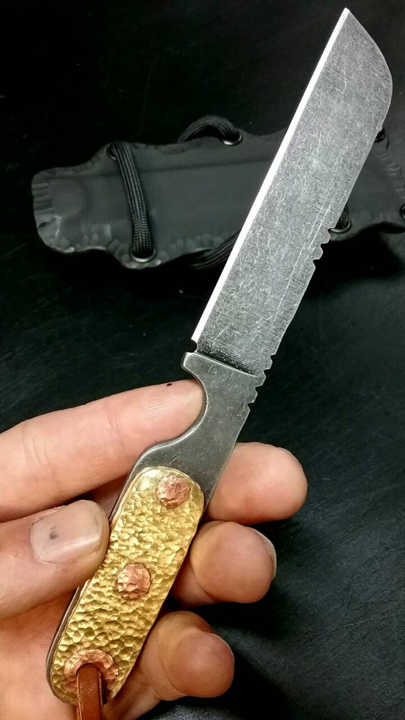 Custom Hand Made Belt Knife,Camp Knife,EDC,O1 Tool Steel Acid Etched and  Stone Washed, Brass Handle Scales w Peened Copper Pins,Kydex Sheath