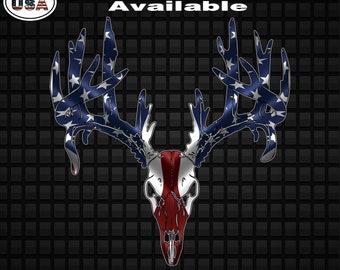 9f05dceb29b American Flag Deer Skull Vinyl Decal Sticker