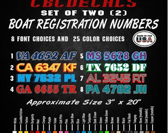 Boat Registration Numbers Decals with Outline Custom Vinyl Stickers Pair of 3/""