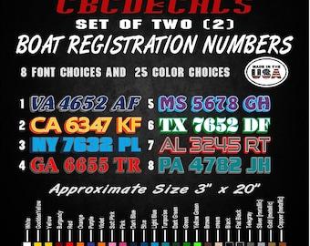 "Black Set of 2 Custom Boat Registration Numbers Letters Decal Vinyl 4/"" x 20/"""