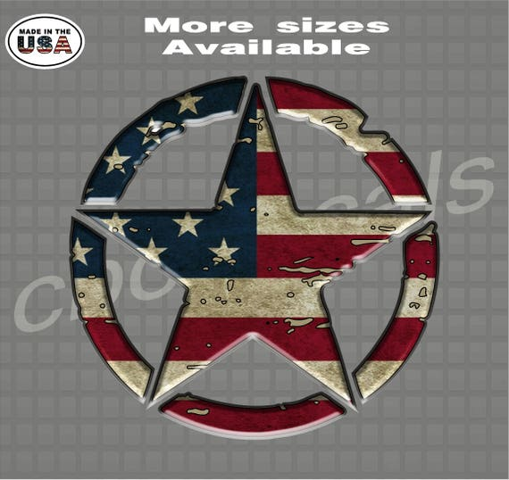 American Military Jeep Star Printed American Flag Decal Army Decal Sticker jeep