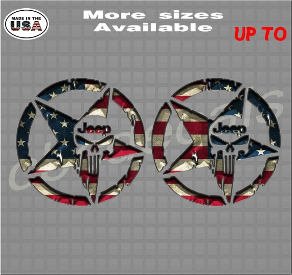 Printed Pair 3D Military Jeep Punisher Star American Flag Decal Sticker
