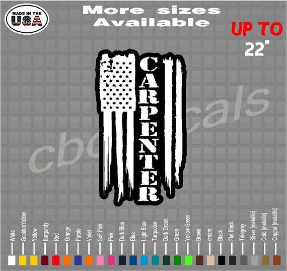 Stickers Carpenter American Flag Vinyl Decal StickerCarpenter Decals