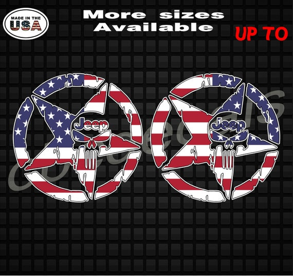Pair 3D Military Jeep Punisher Star American Flag Decal Sticker Printed