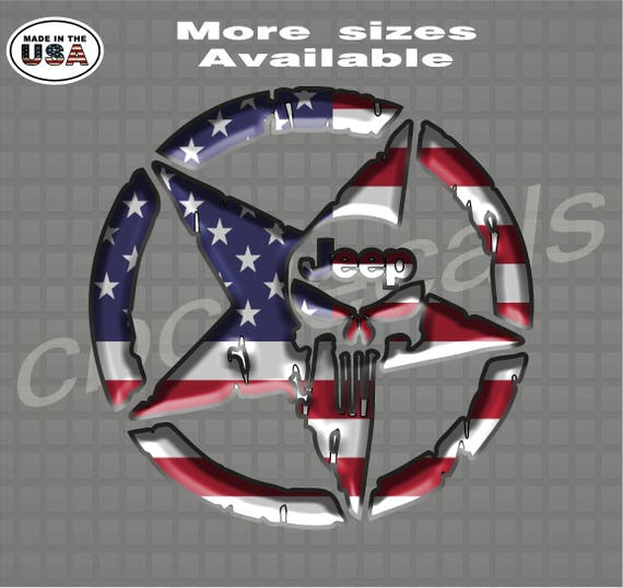 3D Military Jeep Star American Flag Decals Army Decal Sticker Jeep Wrangler