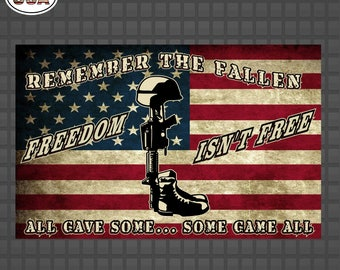American Flag Remember the Fallen Freedom Isn't Free Decal Sticker | Military Decals | Army Decals | Armed Forces Decal Stickers | Yeti Cup