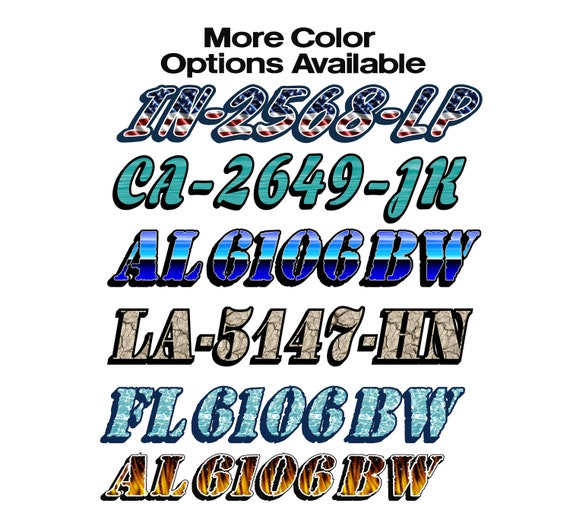 METALLIC CUSTOM JET SKI PWC SEA DOO REGISTRATION NUMBERS BOATS SKI  DECALS