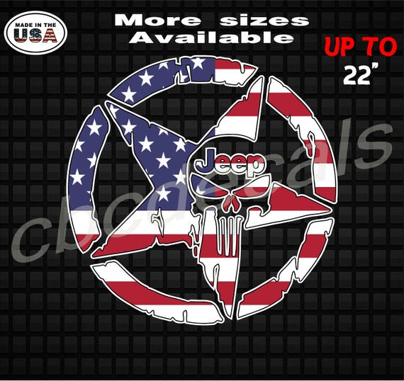 Pair american Military Jeep Star Printed American Flag Decal Army Decal Sticker