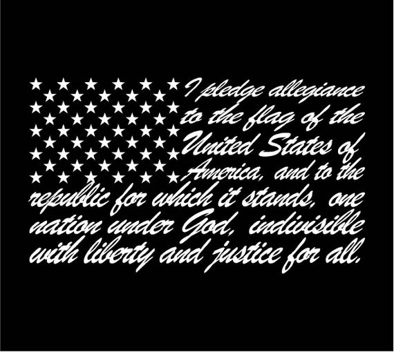 8d20e33c89 American Flag Pledge of Allegiance Decal Sticker Car Window