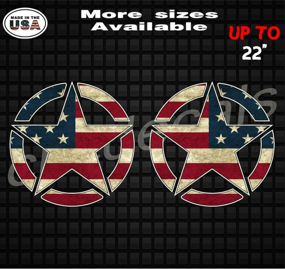 Distressed American Flag Jeep Star Decals For Both SidesJeep Wrangler Rubicon