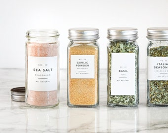 Modern-Numbered Spice Labels • Water and Oil Resistant • Personalization Available • by Paper & Pear
