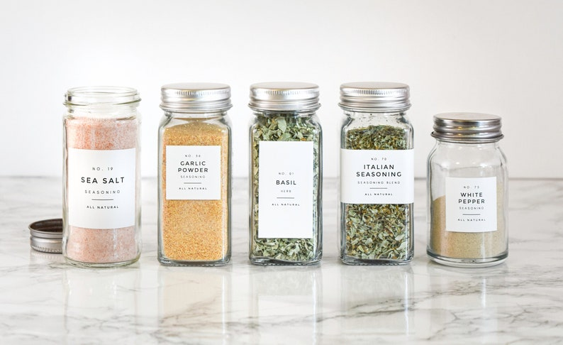 Modern Spice Labels w/Numbers  Personalization Available  image 0