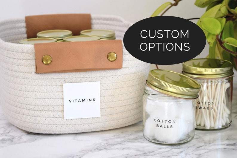 Modern Bath /& Linen Closet Labels \u2022 Customization Available \u2022 Water and Oil Resistant for Durable Home Organization