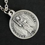 Archangel Michael Necklace. Saint Michael Prayer Necklace. Round Medal Necklace. Patron Saint Necklace. Catholic Saint Michael Necklace.
