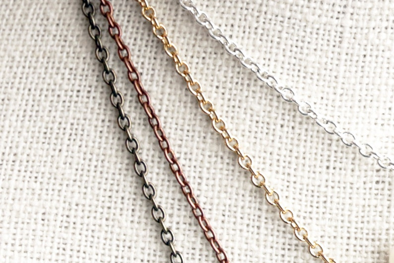 Necklace Chain. Custom Length Silver Plated Chain. Gold image 0