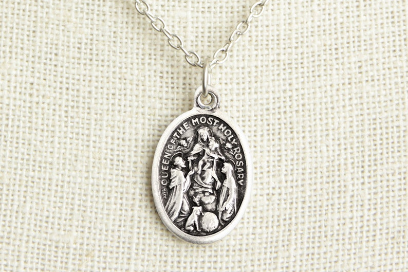 Queen of the Most Holy Rosary Medal Necklace. Queen of Rosary image 0