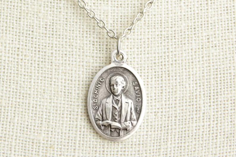 Saint Dominic Savio Medal Necklace. St Dominic Savio Necklace. image 0