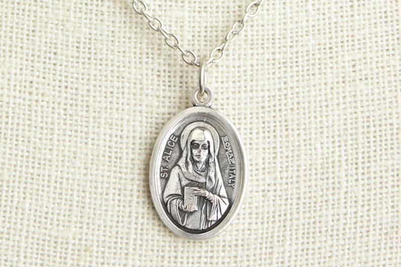 Saint Alice Medal Necklace. St Alice Necklace. Catholic image 0