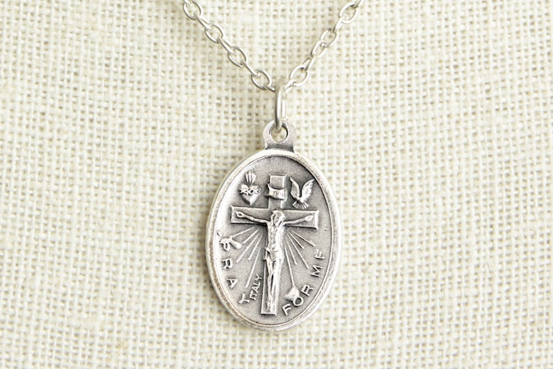 Crucifixion Medal Necklace. Crucifixion Necklace. Catholic image 0